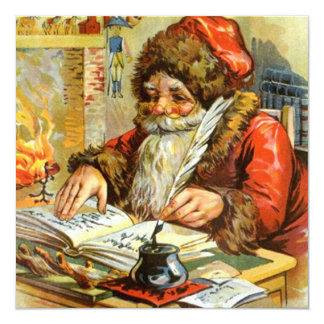 VINTAGE CHRISTMAS SANTA HOLIDAY INVITATIONS