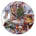 Vintage Christmas Santa Holiday Pattern Large Clock