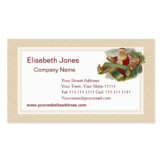 Vintage Christmas Santa in a Classic Antique Car Business Card Templates