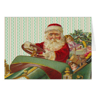 Vintage Christmas Santa in a Classic Antique Car Card