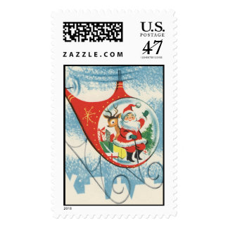 Vintage Christmas - Santa in a Helicopter Postage
