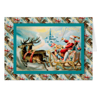 Vintage Christmas, Santa in his sleigh Card