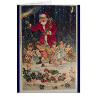 vintage Christmas Santa kids holly dancing parade Card