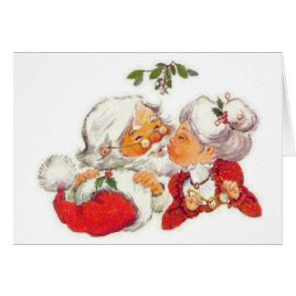 Vintage Christmas Santa Kissing Mrs Claus Card