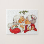 """Vintage Christmas Santa Kissing Mrs Claus Jigsaw Puzzle<br><div class=""""desc"""">Santa Claus is giving Mrs Claus a kiss under the mistletoe in this sweet vintage design. A great way to celebrate love this Christmas!</div>"""