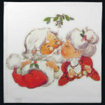 """Vintage Christmas Santa Kissing Mrs Claus Napkin<br><div class=""""desc"""">Santa Claus is giving Mrs Claus a kiss under the mistletoe in this sweet vintage design. A great way to celebrate love this Christmas!</div>"""