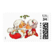Vintage Christmas Santa Kissing Mrs Claus Postage