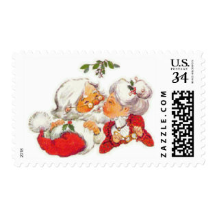 Vintage Christmas Santa Kissing Mrs Claus Postage at Zazzle