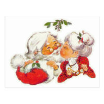 Vintage Christmas Santa Kissing Mrs Claus Postcard