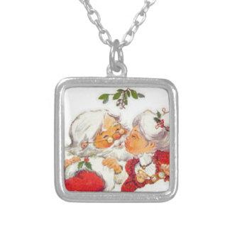 Vintage Christmas Santa Kissing Mrs Claus Square Pendant Necklace