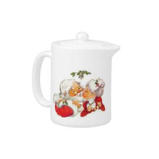 Vintage Christmas Santa Kissing Mrs Claus Teapot