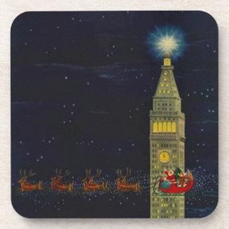 Vintage Christmas Santa NYC Met Life Tower Coaster