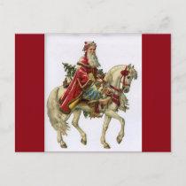 Vintage Christmas Santa on Horse Holiday Postcard