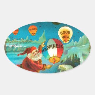 Vintage Christmas Santa Oval Sticker