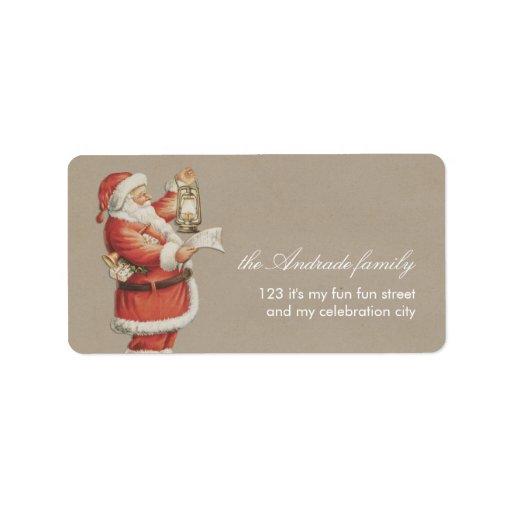 Vintage Christmas Santa Personalized Holiday Custom Address Labels