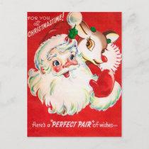 Vintage Christmas Santa Reindeer retro postcard