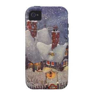 Vintage Christmas Santa s Workshop at North Pole Case-Mate iPhone 4 Cover