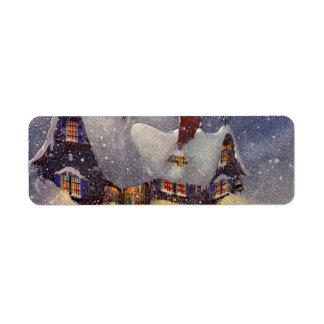 Vintage Christmas Santa s Workshop at North Pole Labels