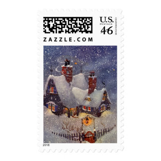 Vintage Christmas Santa s Workshop at North Pole Stamps