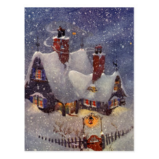 Vintage Christmas Santa s Workshop at North Pole Post Card