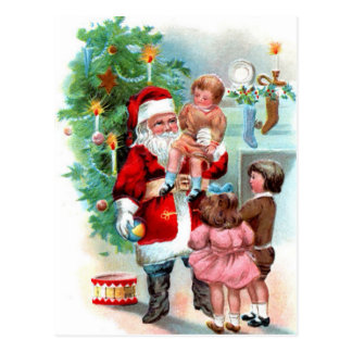 Vintage Christmas Santa Scene Postcard