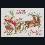 "Vintage Christmas Santa Sleigh and Reindeer Tissue Paper<br><div class=""desc"">Sweet vintage santa riding a sleigh and pulled by two reindeer.</div>"