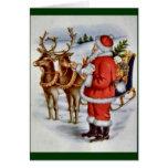 Vintage Christmas Santa Sleigh Reindeer Greeting Card