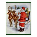 Vintage Christmas Santa Sleigh Reindeer Post Cards