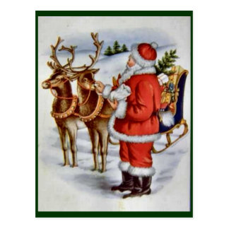 Vintage Christmas Santa Sleigh Reindeer Postcard