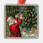 Vintage Christmas Santa Tree Decorating-Ornament Metal Ornament