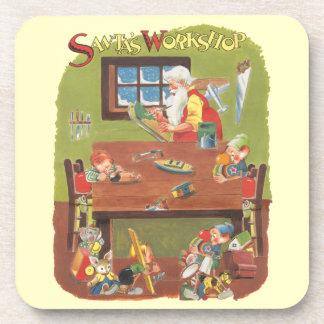 Vintage Christmas Santa with Elves in the Workshop Beverage Coaster
