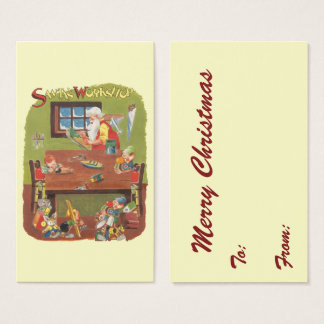 Vintage Christmas Santa with Elves in the Workshop Business Card