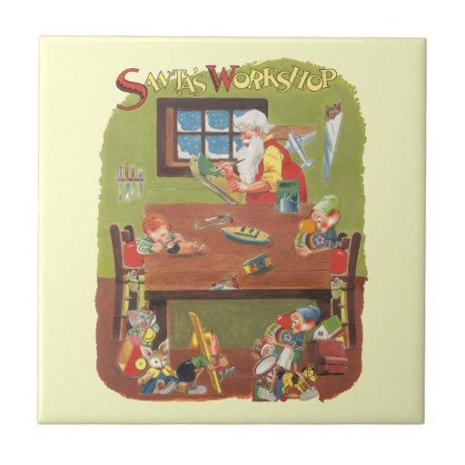 Vintage Christmas Santa with Elves in the Workshop Ceramic Tile