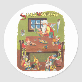 Vintage Christmas Santa with Elves in the Workshop Classic Round Sticker