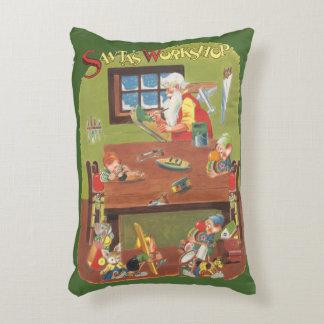 Vintage Christmas Santa with Elves in the Workshop Accent Pillow