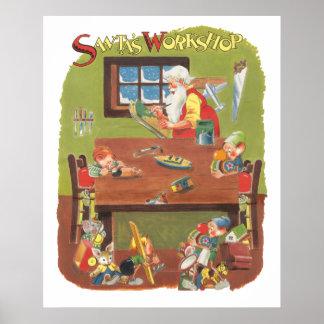 Vintage Christmas Santa with Elves in the Workshop Posters