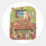Vintage Christmas Santa with Elves in the Workshop Round Sticker