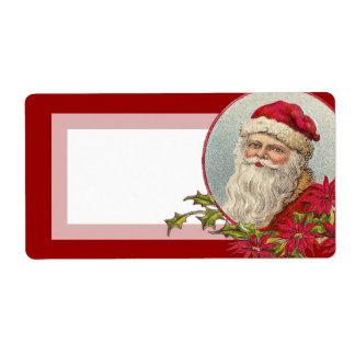 Vintage Christmas Santa with Poinsettias Shipping Label