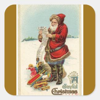 Vintage Christmas Santa's List Square Stickers