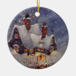 Vintage Christmas, Santa's Workshop at North Pole Christmas Tree Ornament