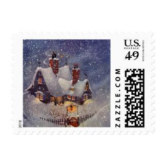 Vintage Christmas, Santa's Workshop at North Pole Stamps