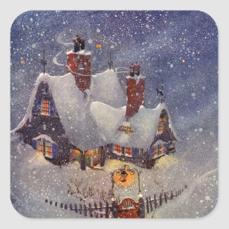 Vintage Christmas, Santa's Workshop at North Pole Square Sticker