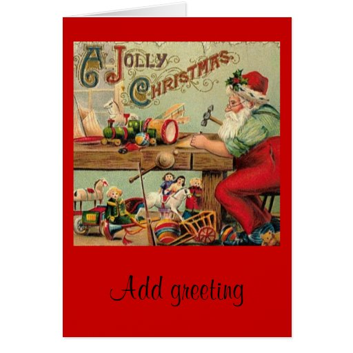 Christmas Toys Cards : Vintage christmas santa s workshop toys art gifts card