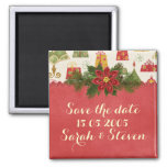 Vintage Christmas Save the date Magnets