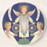 Vintage Christmas, Scandinavian Saint Lucia Angels Beverage Coaster
