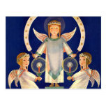 Vintage Christmas, Scandinavian Saint Lucia Angels Postcard