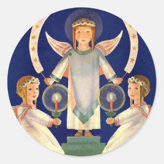 Vintage Christmas, Scandinavian Santa Lucia Angels Classic Round Sticker
