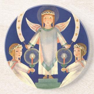 Vintage Christmas, Scandinavian Santa Lucia Angels Drink Coaster