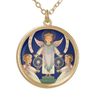 Vintage Christmas, Scandinavian Santa Lucia Angels Gold Plated Necklace