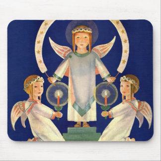 Vintage Christmas, Scandinavian Santa Lucia Angels Mouse Pad